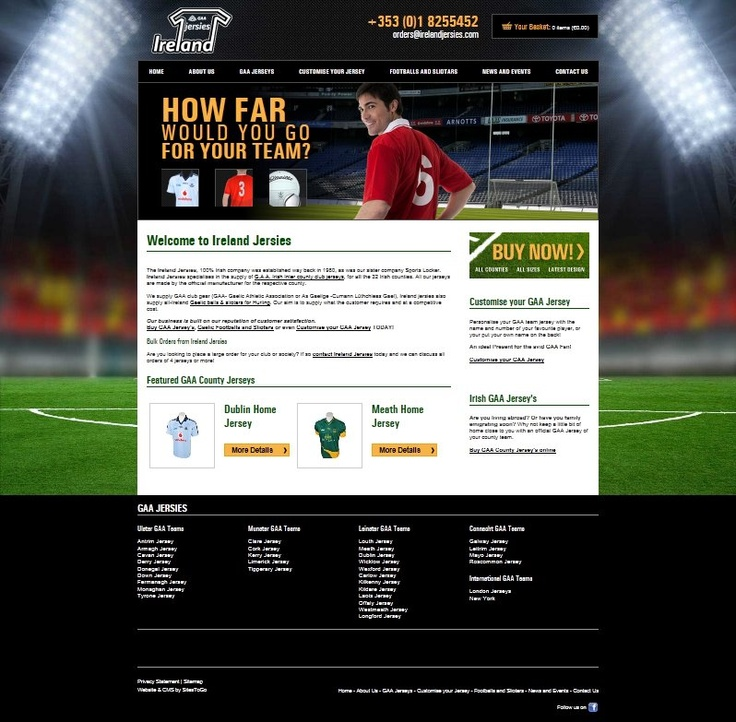 Ireland Jersies is an eCommerce website allowing them to sell their GAA jerseys, Gaelic footballs and sliotars online, to GAA fans at home and abroad.