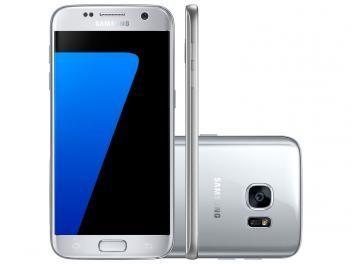 "Smartphone Samsung Galaxy S7 32GB Prata 4G - Câm. 12MP   Frontal 5MP Tela 5.1"" QuadHD Octa Core"