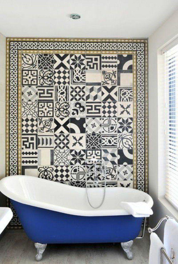 mur design contemporain carrelage blanc noir meuble salle de bain aubade dans la salle de - Meuble Delpha Unique Onde