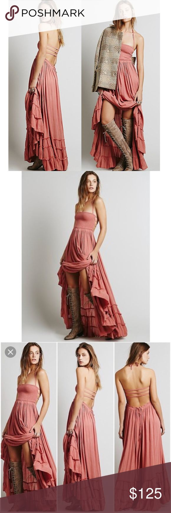 FREE PEOPLE EXTRATROPICAL DRESS IN DUSTY ROSE Crinkly strapless maxi dress, made from our sheer and gauzy Endless Summer fabric, with a stretchy smocked bodice, halter neck tie, and low strappy back. Raw seam detailing on the hem. Throw on top of a bikini or layer over one of our seamless styles for an effortless look. An Endless Summer- Whether you live the beach lifestyle year-round or dream of making the great escape, explore the collection of our most effortlessly ethereal styles under…