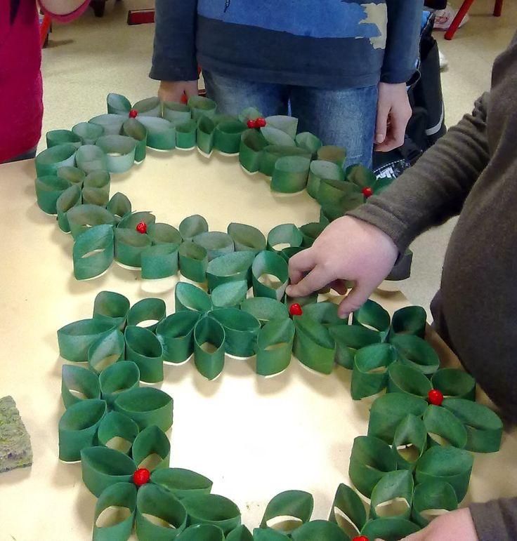 DIY Une couronne de Noël en recyclage (idée école) // L'atelier du Lapin Masqué