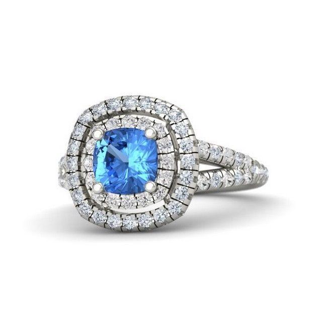 925 Sterling Silver CZ Blue Cushion 2 Halo Princess Cinderella Engagement  Ring