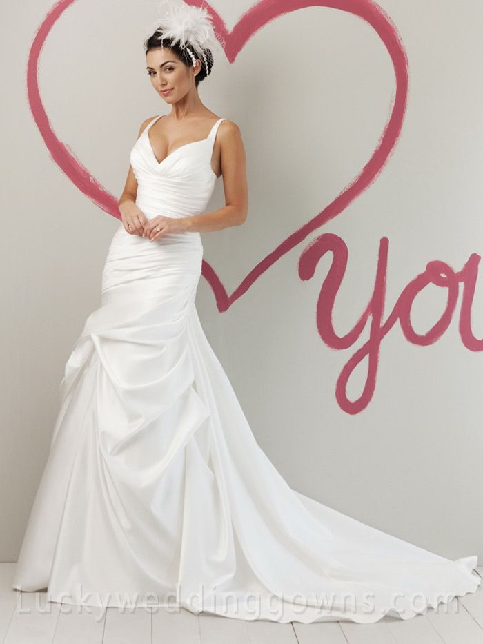 Satin Sweetheart Fashion Summer Wedding Dress with Pick Up A-line Skirt