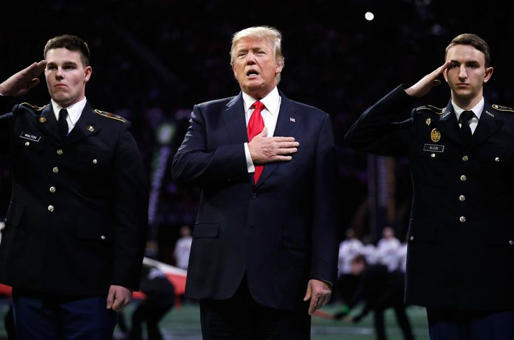 The president was on the field for the national anthem at the CFP Championship. He sang along, but some wondered if he knew the words.