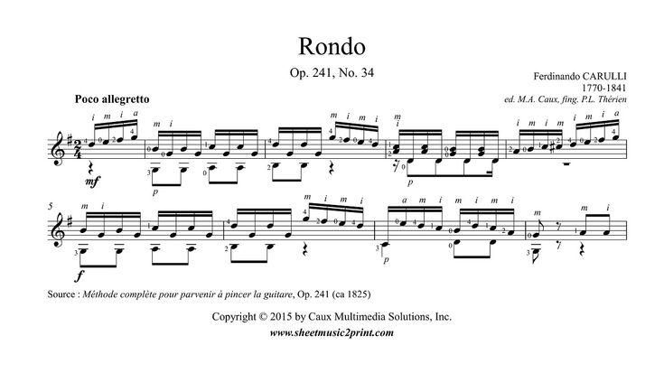 Carulli : Rondo Op. 241, No. 34 http://www.sheetmusic2print.com/Carulli/Rondo-241-34.aspx