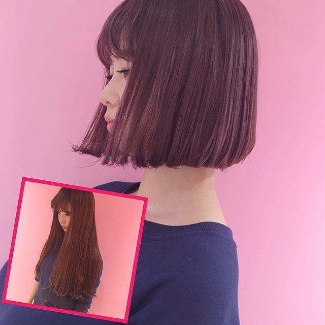 バッサリ #タンバルモリ ブリーチ2回のsmoky pink 大胆イメチェン最高 明日のkcon いいな #SHIMA #shima_harajuku_leap #nasupcolor #nasupのバッサリ✂︎