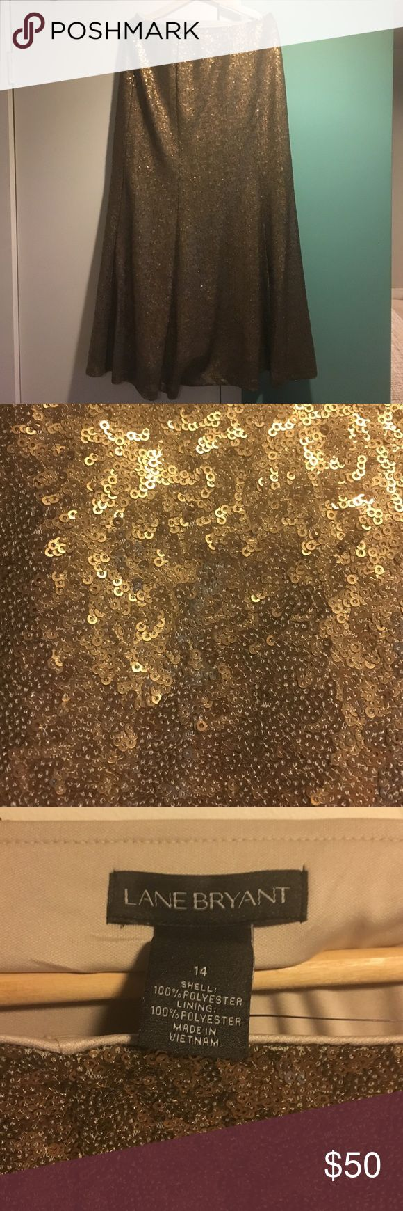 Gold sequin mermaid maxi skirt. Floor length gold sequin maxi skirt with elastic waistband. Lane Bryant Skirts Maxi
