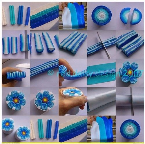 Deep blue polimer clay: Clay Projects, Polymerclay, Blue Flowers, Polymer Clay Tutorials, Fimo, Flowers Patterns, Clay Flowers, Polymer Clay Canes, Flowers Tutorials