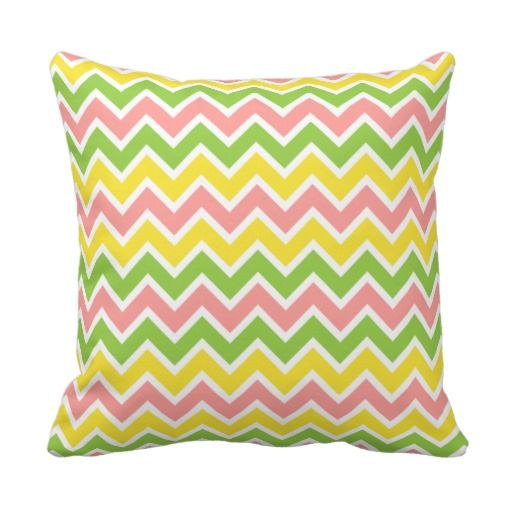 Pink, Yellow & Green Chevron Zig Zag Graphic Print Pillow