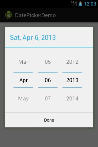Android Date Picker Example for more detailed explaination visit www.pavanhd.blogspot.in/2013/04/android-datepicker-dialog-example.html
