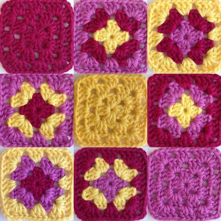 Permutaciones de 3 colores #granate #rosa #amarillo #ganchillo #yocreo #hechoamano #ganchet #jocreo #fetama #granny #grannysquare #crochet #crochetblanket #handmade #lana #llana #wool #ValeriadiRoma by @cristinacrea by cristinacrea