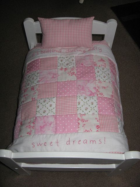 Sweet Dreams doll quilt, but would make a cute baby quilt. It's bedtime little one. Sweet dreams.