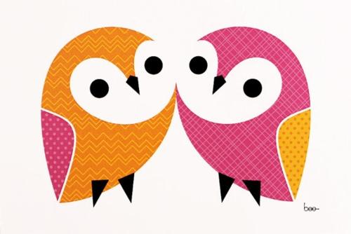 # Owl mini stampa coppia da # Etsy