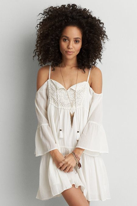 American Eagle Outfitters AEO Cold Shoulder Shift Dress