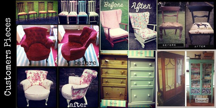Before and after upcycled furniture
