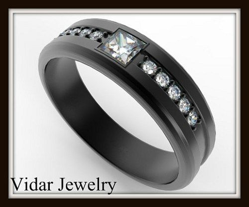 Elegant 14k Black Gold Diamond Men's Wedding Ring   If your man wants to make statement then this Black Gold Wedding Band For Men is for him!  Metal/weight/detail: 14K black gold (black rhodium alloy on 14K white gold),6 gr.  width: 5.5mm  Thick:1.5mm   Gemstone: Diamond.  Carat Weight: About 0.20ct, 1 stones  Color/Clarity: G-H-VS  Size/Cut/Shape: 3X3mm Princess Cut,Very Good   Gemstone: Diamond.  Carat Weight: About 0.10ct, 10 stones  Size/Cut/Shape: 1.3mm Round, very good $1880