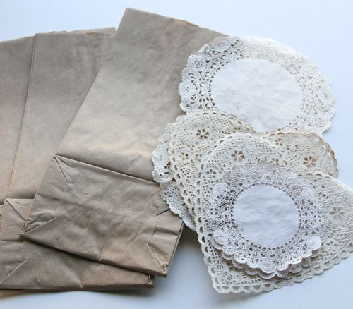 Dressed Up Brown Paper Bags w/ Paper Doilies Tutorial