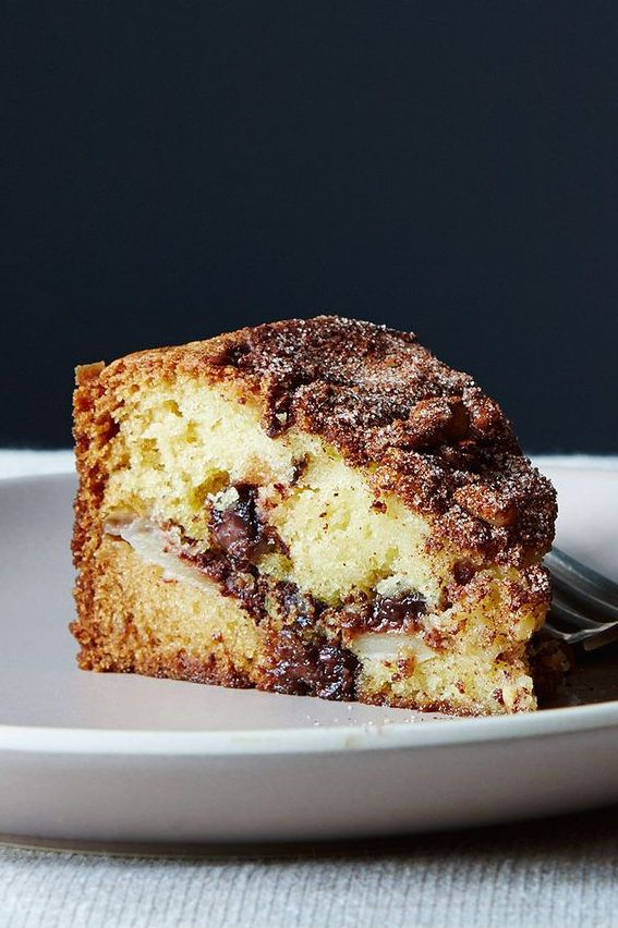 Chocolate Chip Sour Cream Coffee Cake With Apples Recipe On Food52 Recipe In 2020 Coffee Cake Gourmet Recipes Sour Cream Coffee Cake