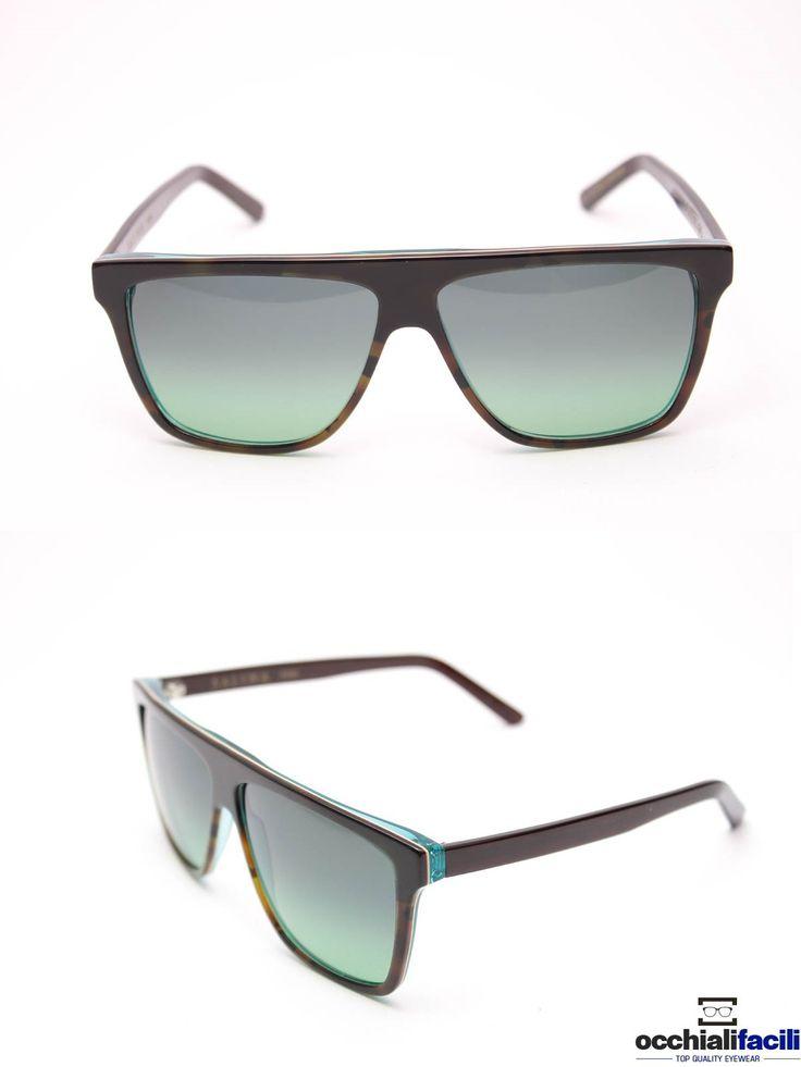 Occhiali da sole G-Sevenstars Salina NHA, forma oversize da uomo, in celluloide marrone striato scuro con lenti sfumate e interni verde acqua. http://www.occhialifacili.com/prodotto/occhiali-da-sole-g-sevenstars-alicudi-ny/