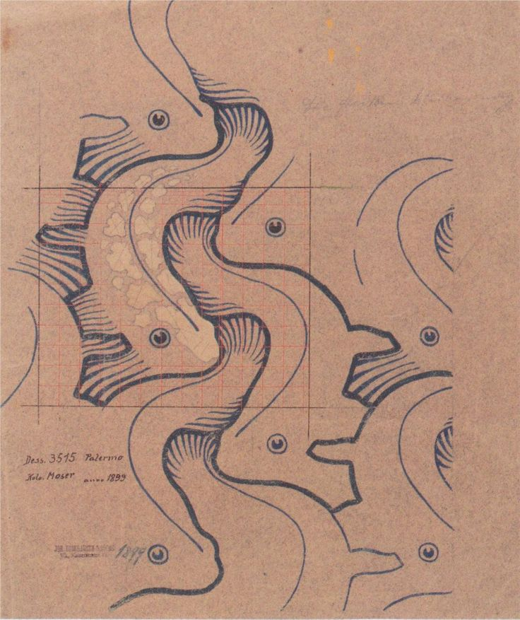 Fabric design with moving waves for Backhausen — Koloman Moser (1902)