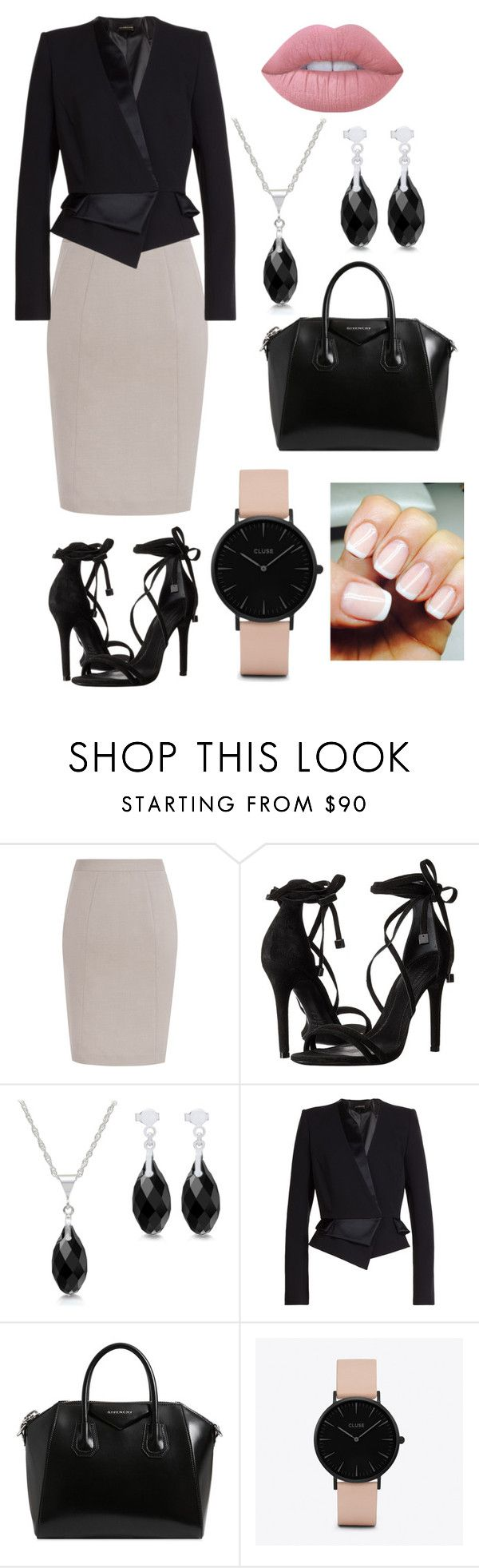 """Black Elegance"" by alphashe on Polyvore featuring Schutz, Alexandre Vauthier, Givenchy, CLUSE, Lime Crime, chic, black and formal"