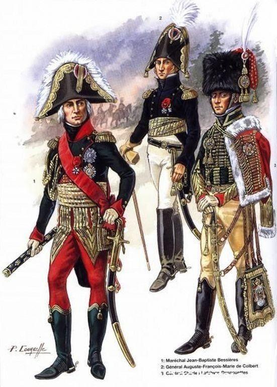 1-Maréchal Jean-Baptiste Bessières.  2-Général Auguste François Marie de Colbert.  3-Général Charles Lefebvre-Desnouettes.
