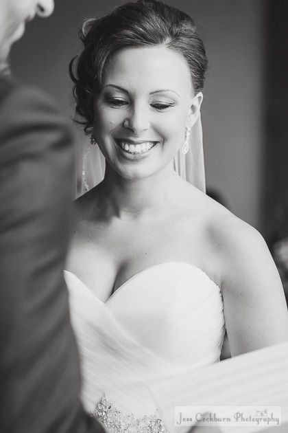 A beautiful bride during her ceremony in black and white
