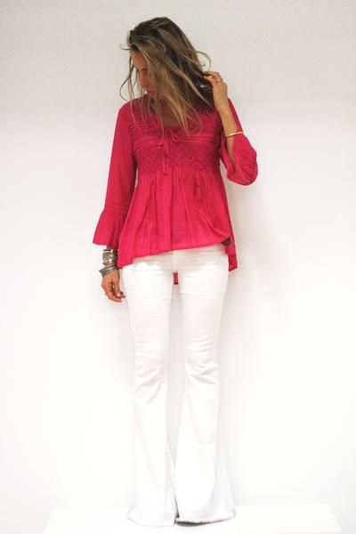 100% cotton hot pink blouse with embroidered details