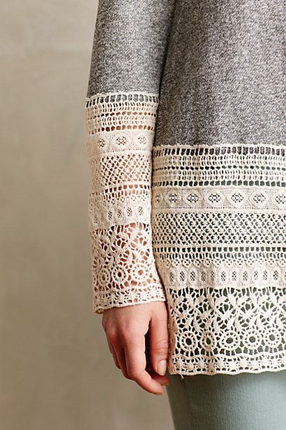 Recessed Lace Sweatshirt - anthropologie.com great idea to upcycle a boring sweatshirt