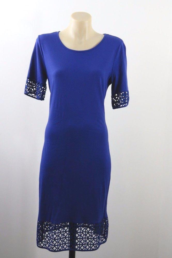 NWT One Size Metalicus Ladies Blue Dress Boho Chic Casual Retro Stretch Design