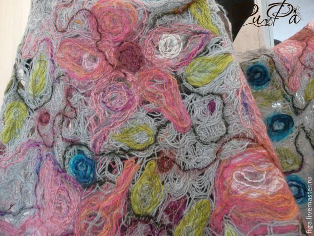 "Палантин в технике ""Крейзи-вуул"" - Ярмарка Мастеров - ручная работа, handmade"