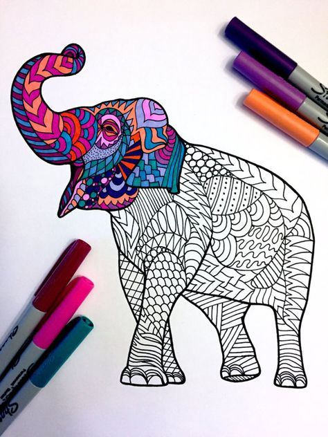 Asian Elephant - PDF Zentangle Coloring Page | Coloring Book ...
