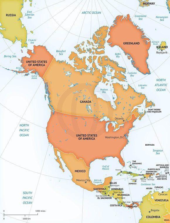 Vector Map Continent North America North America Map Time Zone Map North America Continent