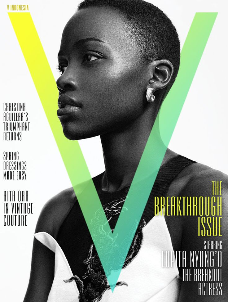 Lupita Nyong'O on the cover of V ('The Breakthrough Issue'), photographed by Mikael Jansson.