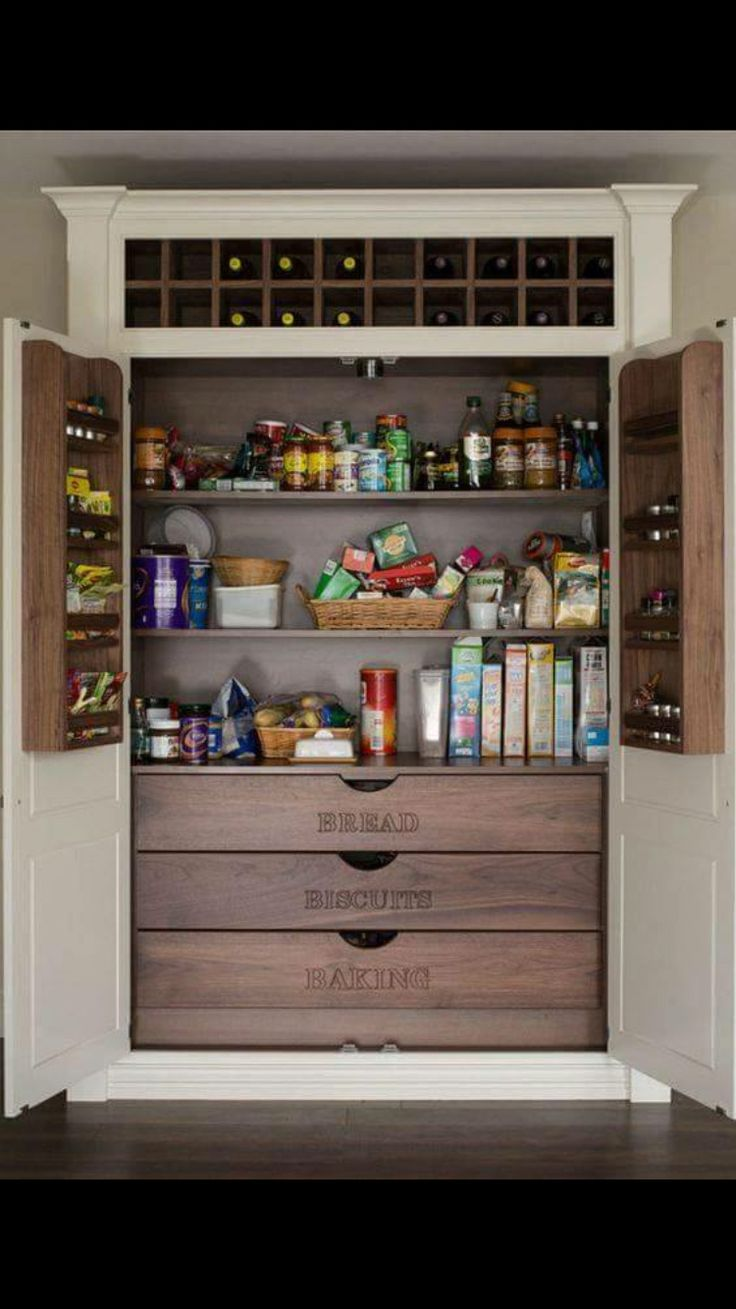 Don't you just love this built-in pantry with its labeled wood drawers? The  wine rack at the top is a nice touch, too. 10 Kitchen Pantry Ideas for Your  Home ...