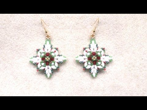 Beading4perfectionists : Christmas earrings with superduo beads beading tutorial - YouTube