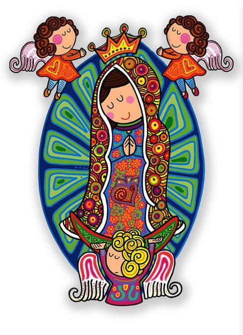 Such sweet and childlike images of Our Lady of Guadalupe in folk art style.