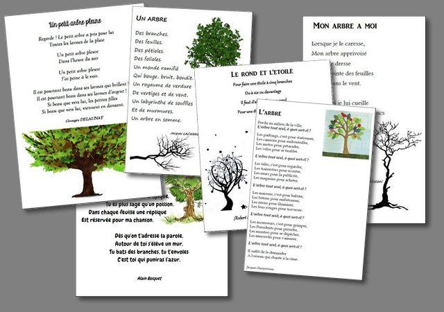 Un fichier qui regroupe 6 poésies sur le thème de l'arbre : Arbre d'Alain Bosquet L'arbre de Jacques Charpentreau Le rond et l'étoile de Robert Desnos Mon arbre à moi de Chr…