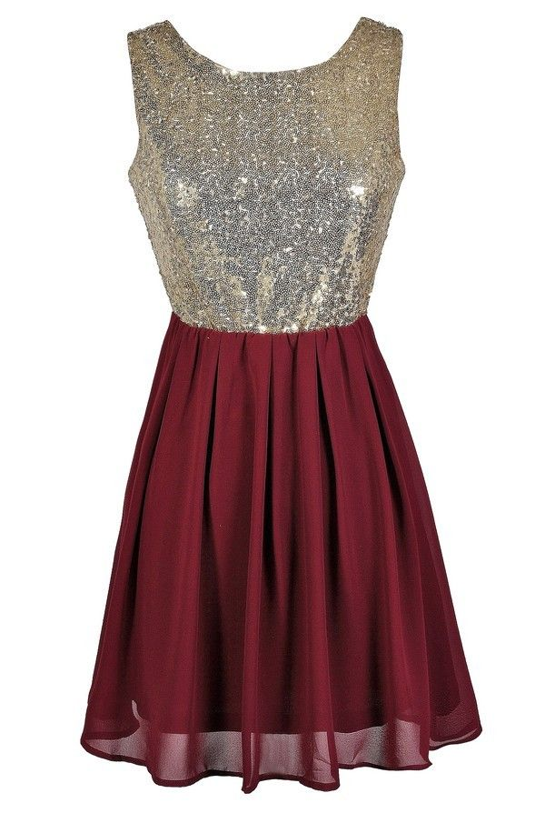 Go For Gold Sequin and Chiffon Dress in Burgundy