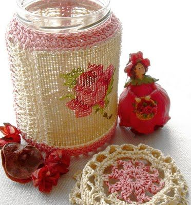 August Crochet, embroidery - recycling glass