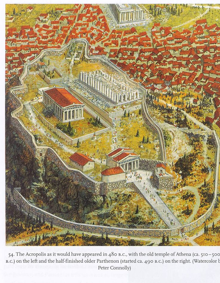 Artists rendering of the Athenian Acropolis c 480 BCE