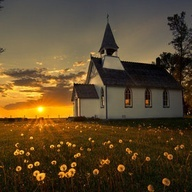 old country church at sunset! My dream is to buy an old church and restore it to a be a beautiful home!!! ONE DAY!