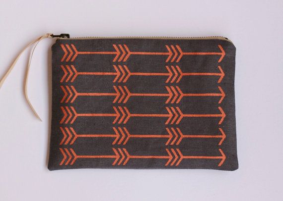 Feather arrow pouch in metallic copper  and charcoal- screen printed and handmade