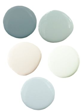 Soothing Coastal Color Palette. A combination of cream, white, and muted blues give this palette a soft and relaxing feel. ~ Link does not work anymore, use ~ http://shop.dezignable.com/blog/2012/3-soft-soothing-coastal-style-living-rooms