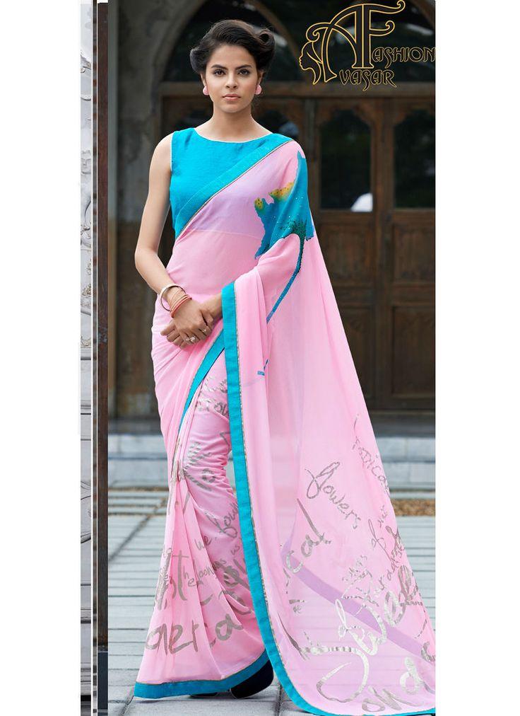 Pure 80gms Georgette With Exclusive Designer Print With Foiel Print Saree.Unstitch Blouse:Bhagalpuri Silk And Half Coating Crape Silk
