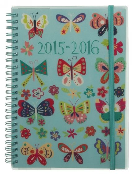 WHSmith 2015-16 A5 Bright Butterflies Diary Week to View