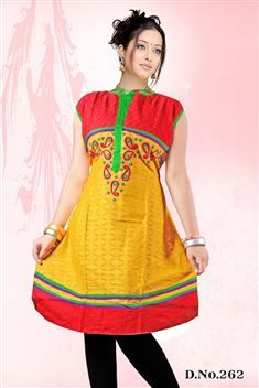 Yellow casual wear anarkali style kurti @ just Rs. 660