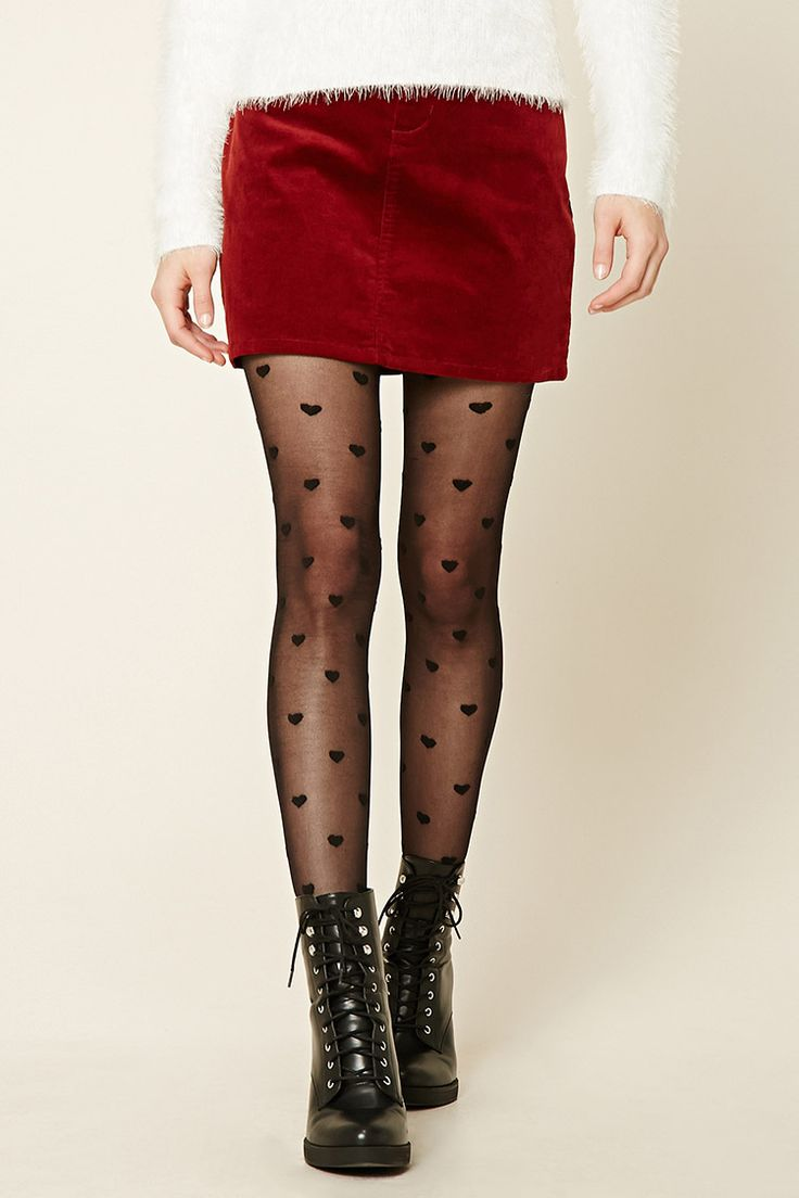 Heart Print Tights - Womens accessories, jewellery and bags | shop online | Forever 21 - 2000251712 - Forever 21 EU English