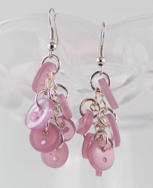 Pink chandelier button dangling earrings teenager