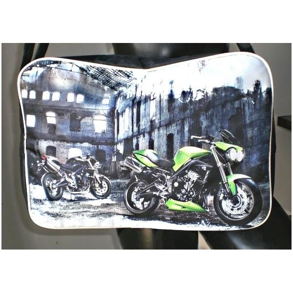 Motorbike print shoulder bag